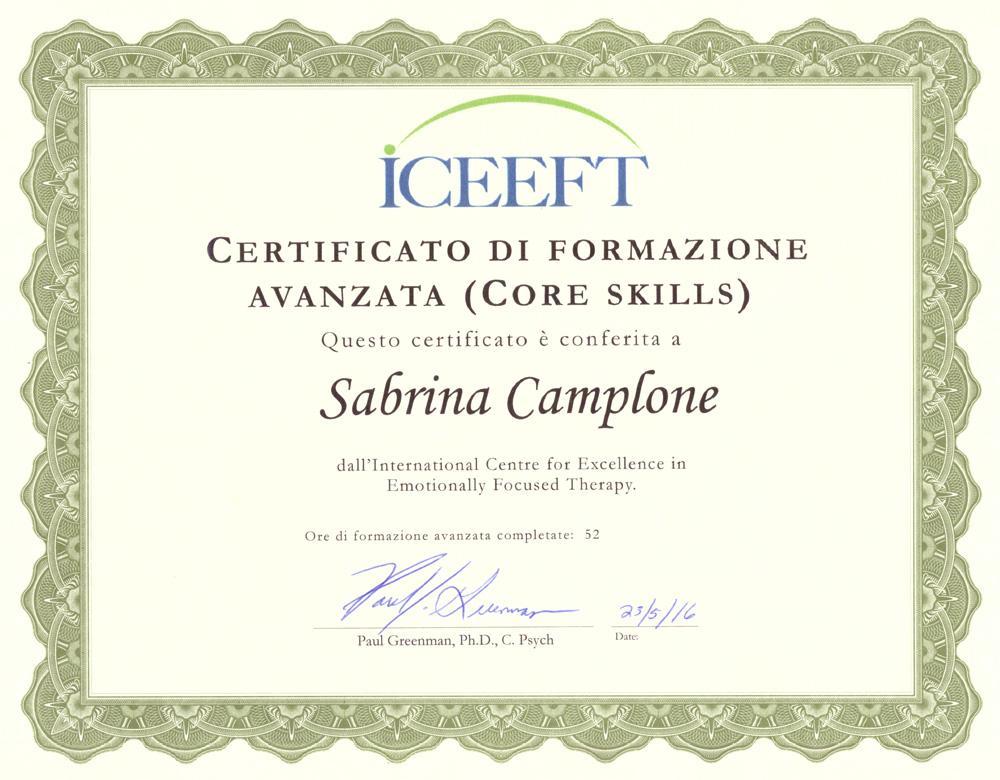 Certificato di Formazione Avanzata dell'International Centre for Excellence in Emotionally Focused Therapy Sabrina Camplone