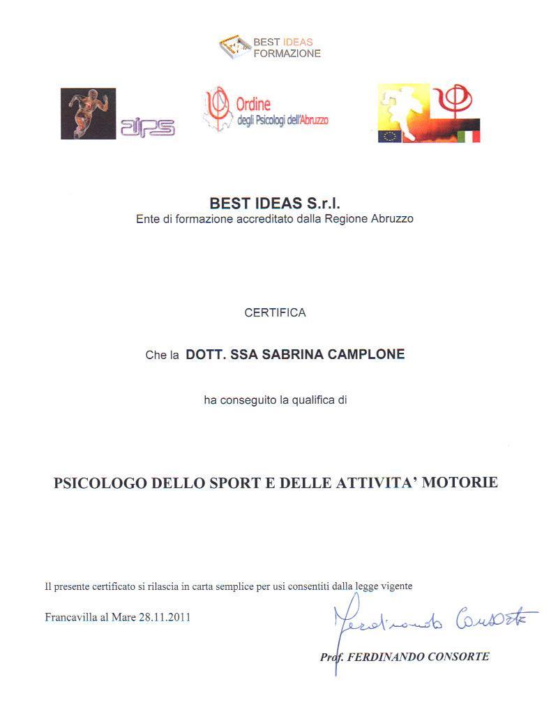 Master in Psicologia dello Sport Sabrina Camplone