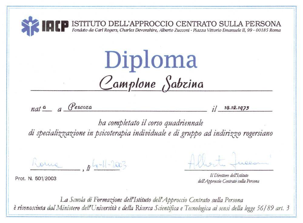 diploma di specializzazione psicoterapia Sabrina Camplone