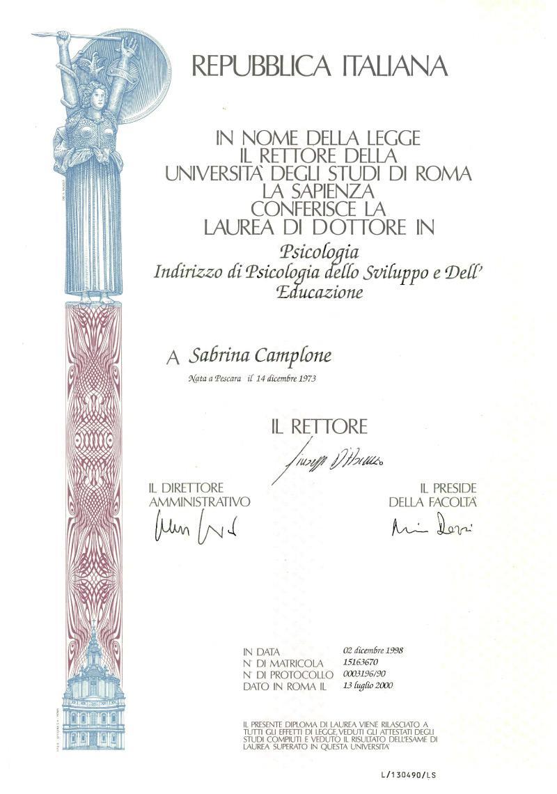 laurea psicologia Sabrina Camplone
