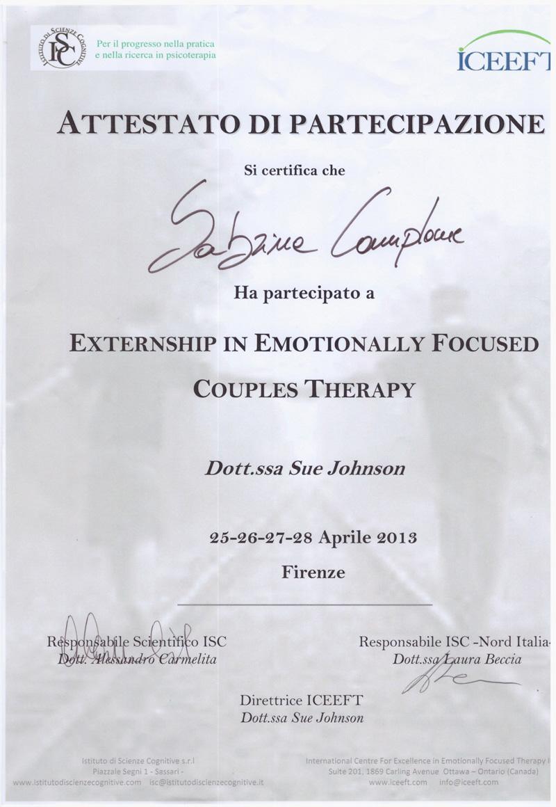 Perfezionamento in Terapia di Coppia Focalizzata sulle Emozioni Sabrina Camplone